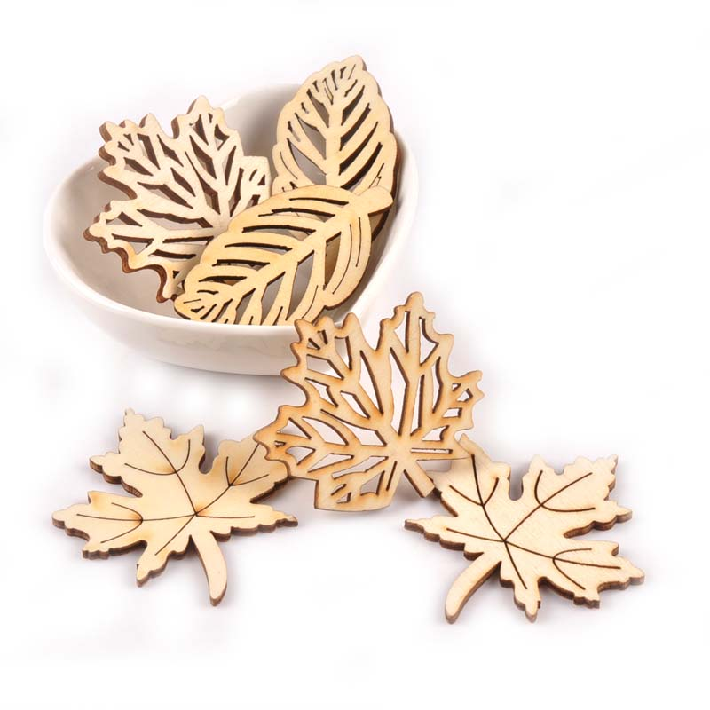 Crafts Hollow Ornament Embellishment Scrapbooking Natural Wood Leaves Pattern