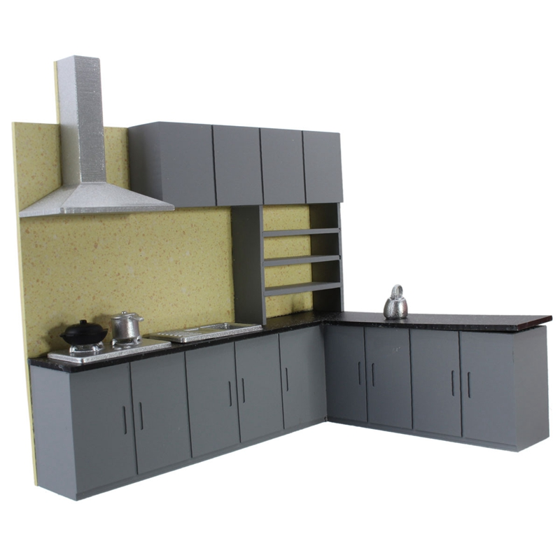 Kiwarm cute 1 25 dollhouse miniature furniture kitchen for Model model kitchen set