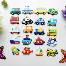 1Pcs Silicone Cartoon Car Transportation Fridge Magnets Whiteboard Sticker Refrigerator Magnets Kids Gifts Home Decoration 3pcs set mini crystal diamond shapes fridge magnets whiteboard sticker refrigerator magnets kids gift home decoration
