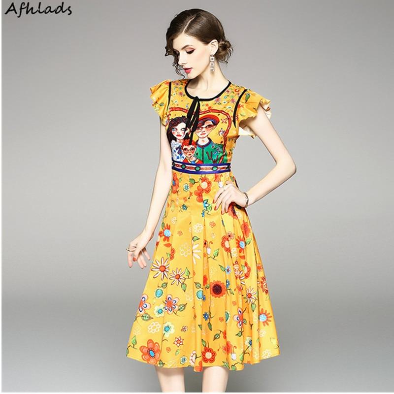 98bbd262a Модное платье новое мультяшное персонаж Печатный Тонкий галстук-бабочка с  коротким рукавом Элегантное с высокой