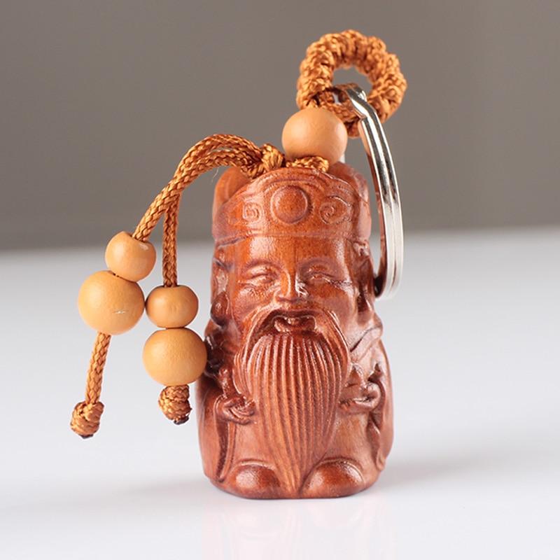 Handmake Traditionnel En Acajou Massif Sculpté Longévité Le Dieu de La Richesse Clé Pendentif Anneau Porte-clés Amulette Pendentif De Voiture Accessoires