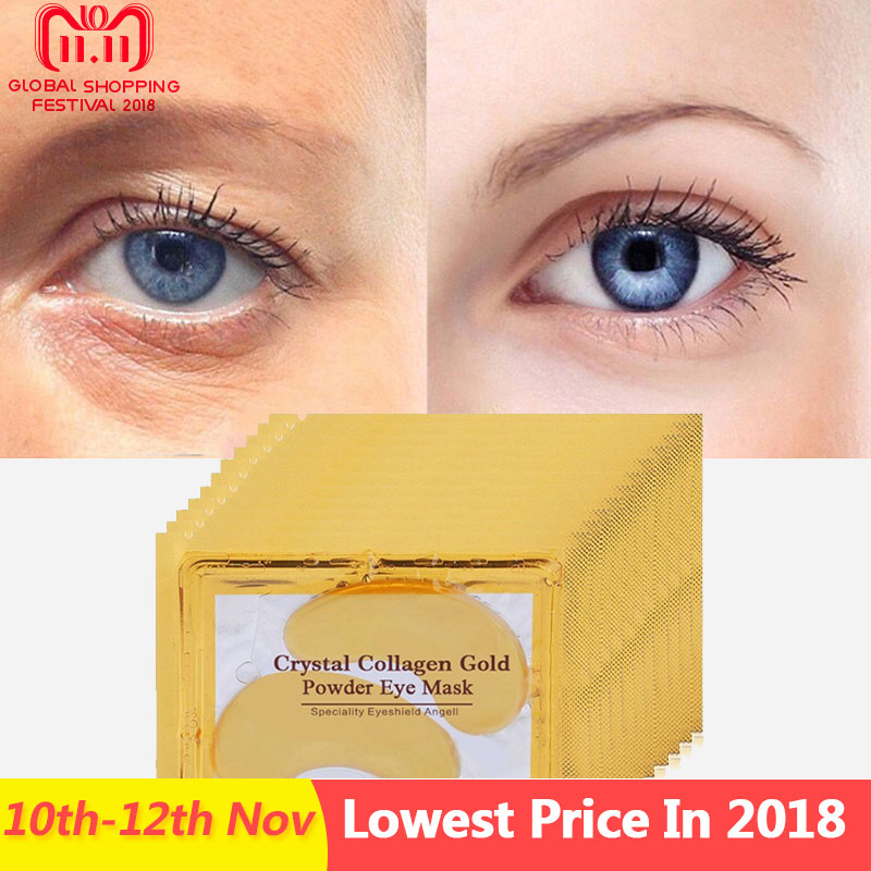 30pcs=15pair Gold Crystal Collagen Eye Mask Eyelid Eye Patches Under The Eyes Mask 24K Golden Masks Dark Circles Removal kongdy 4 bags lavender eye steam mask hot warming eye mask for tired eyes relaxing remove dark circles masks massage relaxation