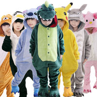 Children Unisex Stitch Tiger Totoro Onesie Kids Girls Boys Warm Soft Cosplay Animal Pajamas Home Sleepwear