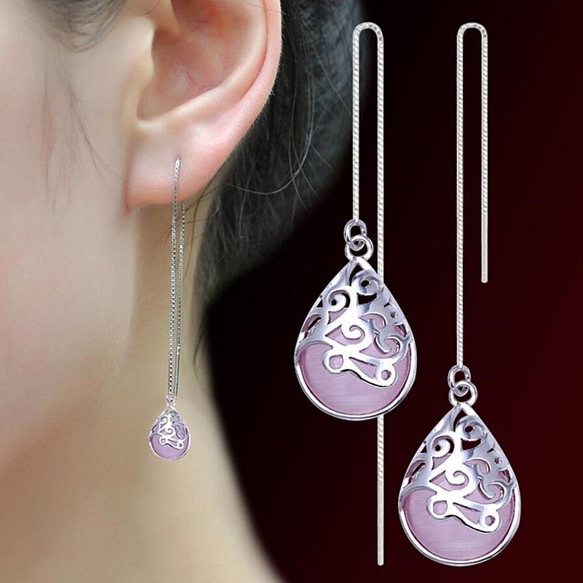 Ezüst fülhuzal fülbevaló hosszú bekezdés Ms. White Pink Opal Trevi eltúlzott címer fülbevaló új divat szép ékszerek