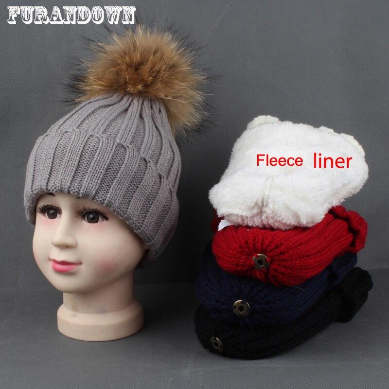 2018 New Hat Children Warm Fleece Liner Beanie Hat Zimní čepice pro děti Baby Real Fur Pompom Skullies Beanies Dívčí chlapci