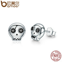 BAMOER Genuine 925 Sterling Silver Cranium Skull Stud Earrings For Women Black Clear CZ Sterling Silver
