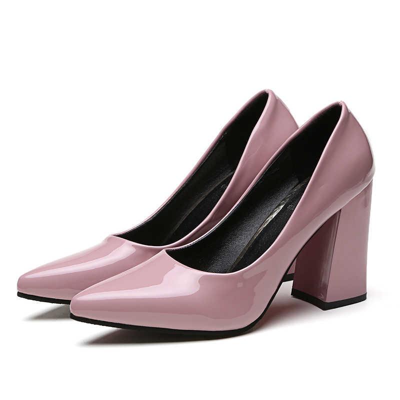 SLYXSH 2018 Neue marke frauen pumpen niedrigen heels schuhe frau damen party hochzeit kleid spitz slip auf schuhe größe 35-39