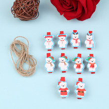 10 Pcs Mini Wooden Clothes Photo Paper Peg Christmas Tree heart animals Clothespin Laundry Hangers Wedding Party Natural Clip(China)