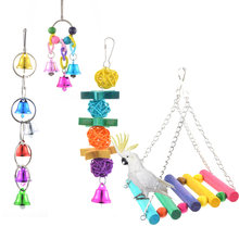 1set Parrot Toys Suspension Hanging Bridge Chain Pet Bird Parrot Chew Toys 5 types Bird Cage Toys For Parrots Home Decor(China)