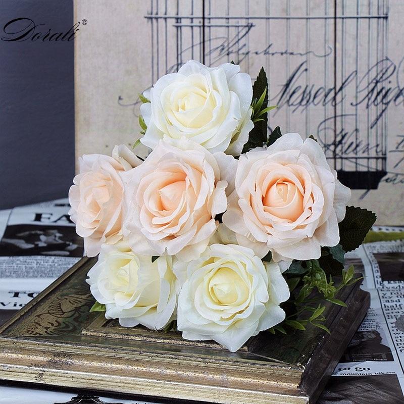 6 голов, белые розы, искусственные цветы, шелк, высокое качество, для свадебного украшения, зимние искусственные большие цветы, красные для домашнего декора, осень - Цвет: white flowers