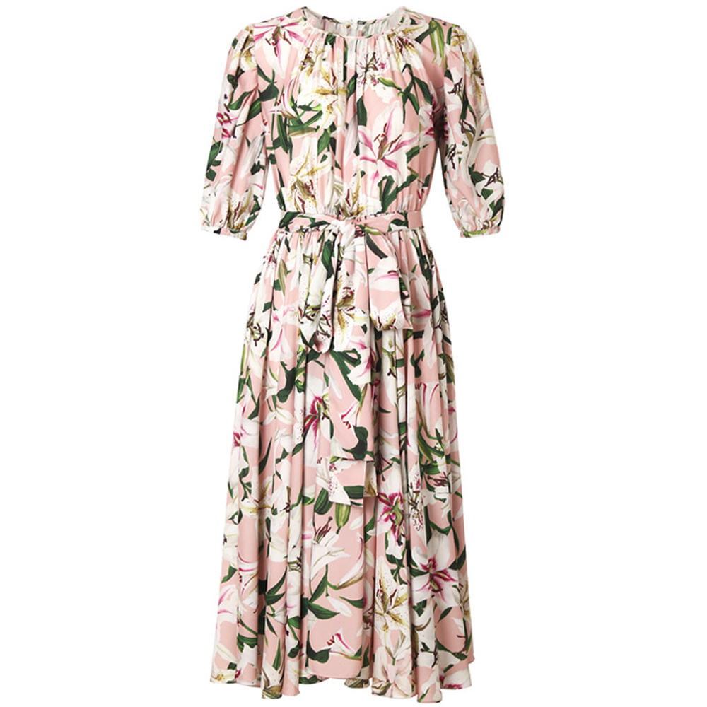 Red RoosaRosee Fashion Runway Women Vintage Dress Puff Sleeve Draped Lily Print Elegant Party Midi Dresses