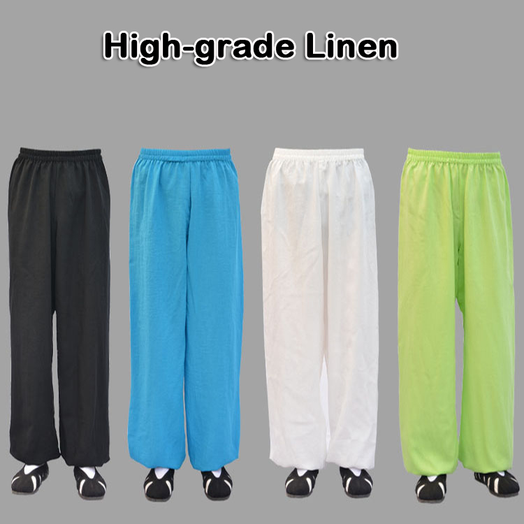 High-grade Linen Wudang tai chi pants kung fu martial arts Yoga practice performance trousers morning exercise for men women cotton linen men s yoga suits long sleeved taiji lay clothes plus size breathable meditation martial arts performance clothing