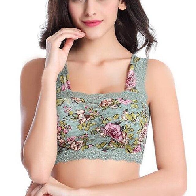 62b5a9416e Hot Sale Women Lace Bras Sexy Underwear Floral Print Wireless Seamless Full  Cup Comfy Brassiere Vest Bras Lingerie