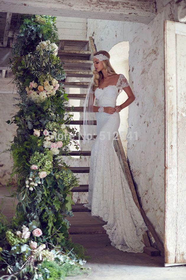 Romantic Lace Wedding Dresses vestido de noiva Mermaid Trumpet Sweetheart Short Sleeves Applique Sweep Train Bridal Gowns 2019 in Wedding Dresses from Weddings Events