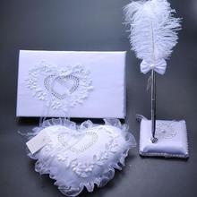 Blanco libro de firmas para la boda almohada anillo de pluma de corazones de diamantes de imitación Vintage boda invitado libro alternativas conjunto