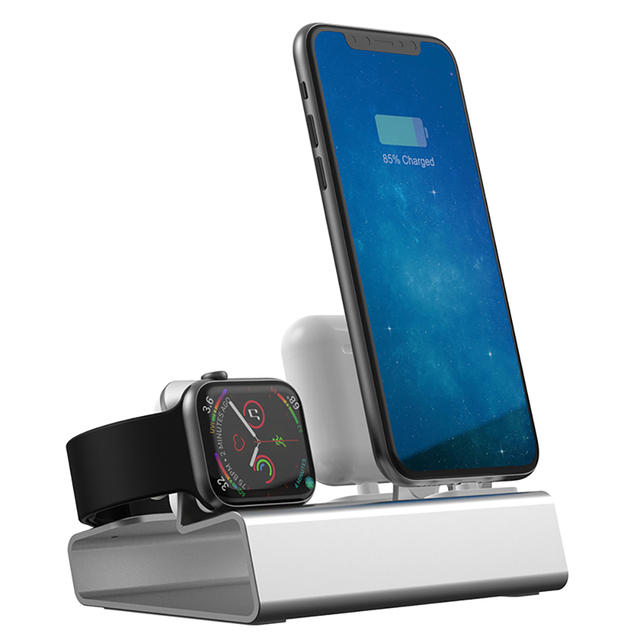 Doca de carregamento 3 em 1, carregador de alumínio para iphone x xr xs max 8 7 apple watch suporte de montagem da doca do iwatch