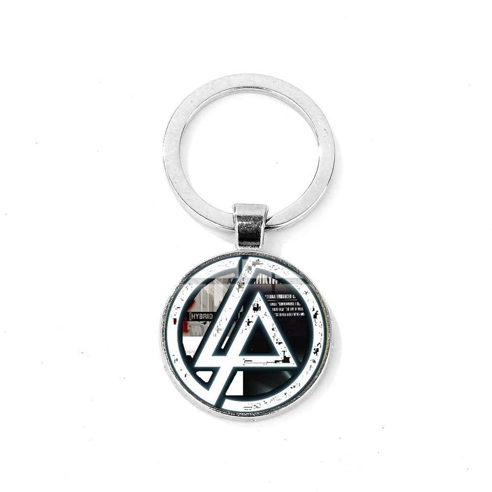 Songda Rock Music Linkin Park Band Sign Keychain Art Logo Glass Cabochon Silver Plated Metal Bag Car Key Chain Ring Handcrafteds