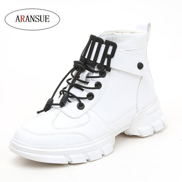 ARANSUE 2018 winter botas mujer outdoor ankle boots for women PU white shoes fashion footwear zapatos mujer casual platform boot