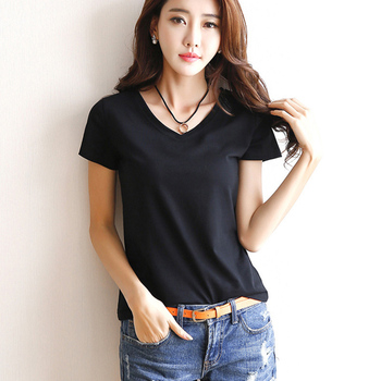 Summer Women's Short Sleeve T Shirt Basic Tees T-shirt Round Neck Casual Shirts Solid Color Tops Black / White