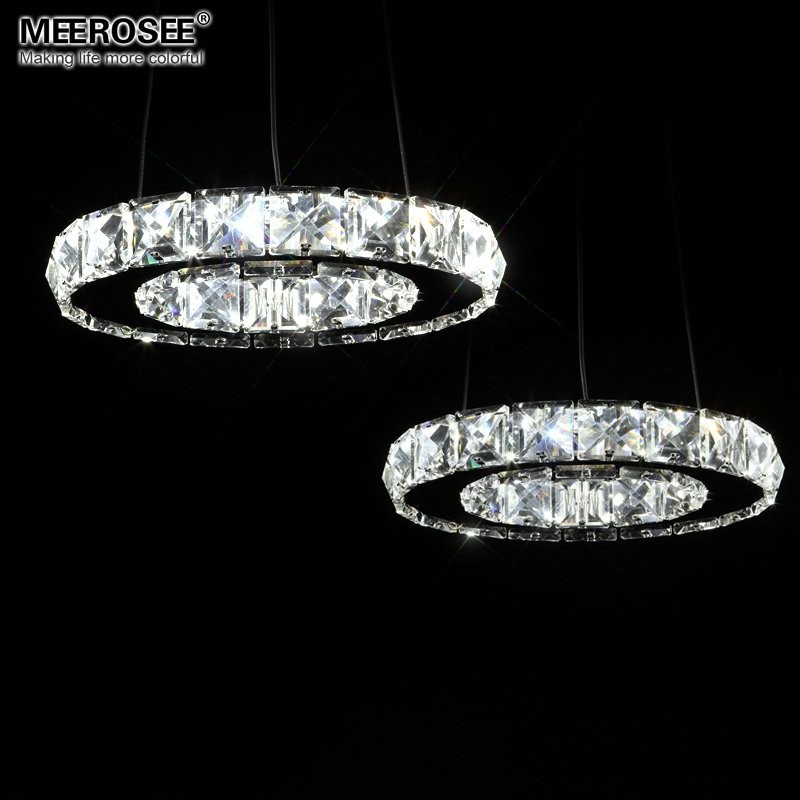 Diamond LED Crystal Chandelier Light Lustre Lamp for Aisle Porch Hallway Stairs Crystal Ring Lighting with LED Light Bulb 8 Watt