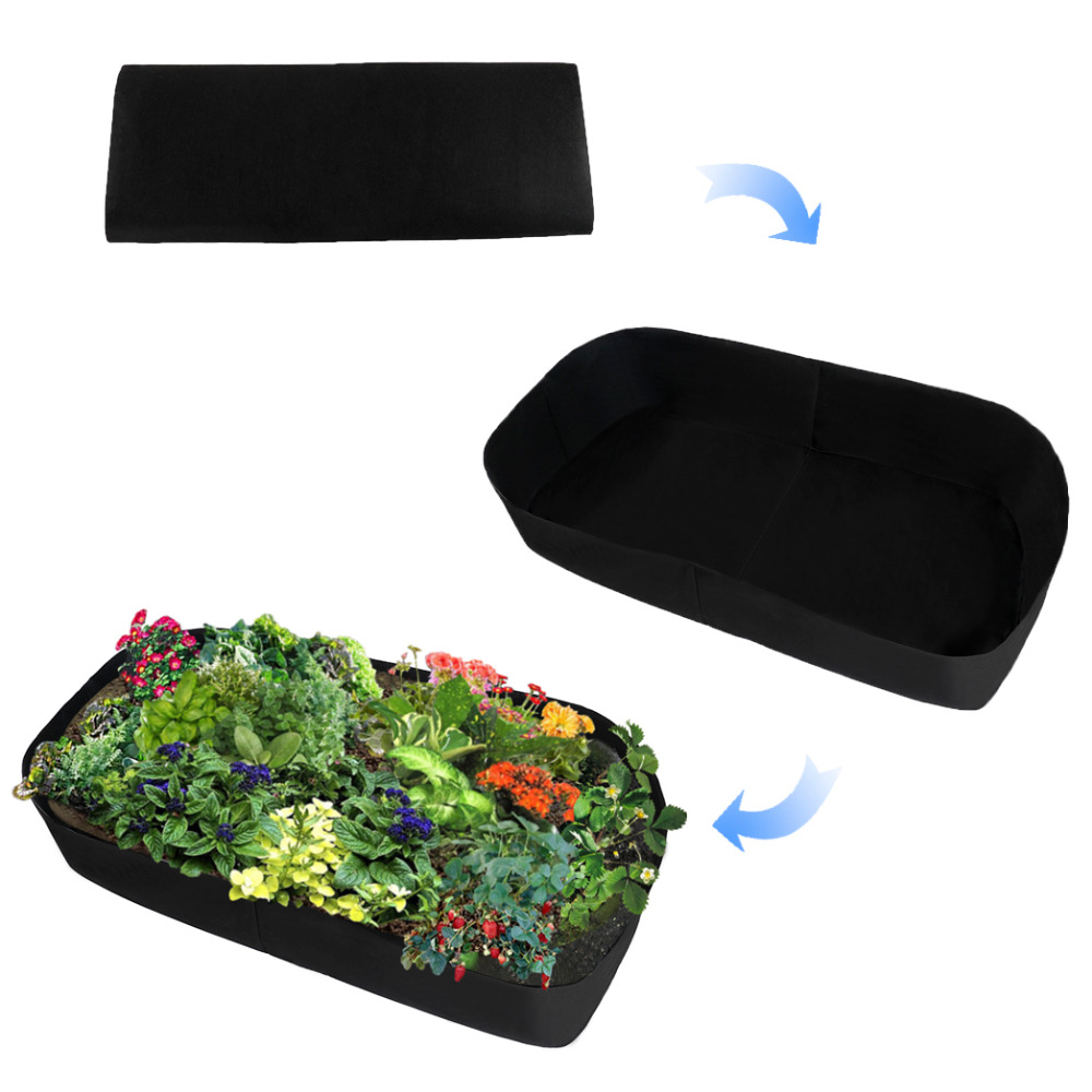 Fabric Raised Planting Bed Garden Grow Bags Herb Flower Vegetable Plants Bed Rectangle Planter Fabric Raised Planting Bed Garden Grow Bags Herb Flower Vegetable Plants Bed Rectangle Planter