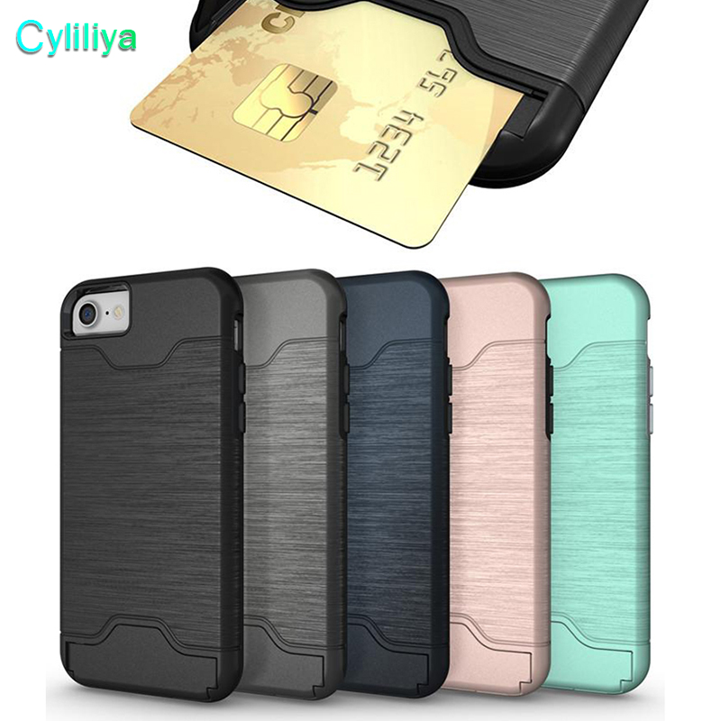 100pcs For Iphone X 8 Plus Case Galaxy S9 S9plus Brush Card Slot Holder Back Cover Kickstand Case For Galaxy S8 Armor Case Soft And Light