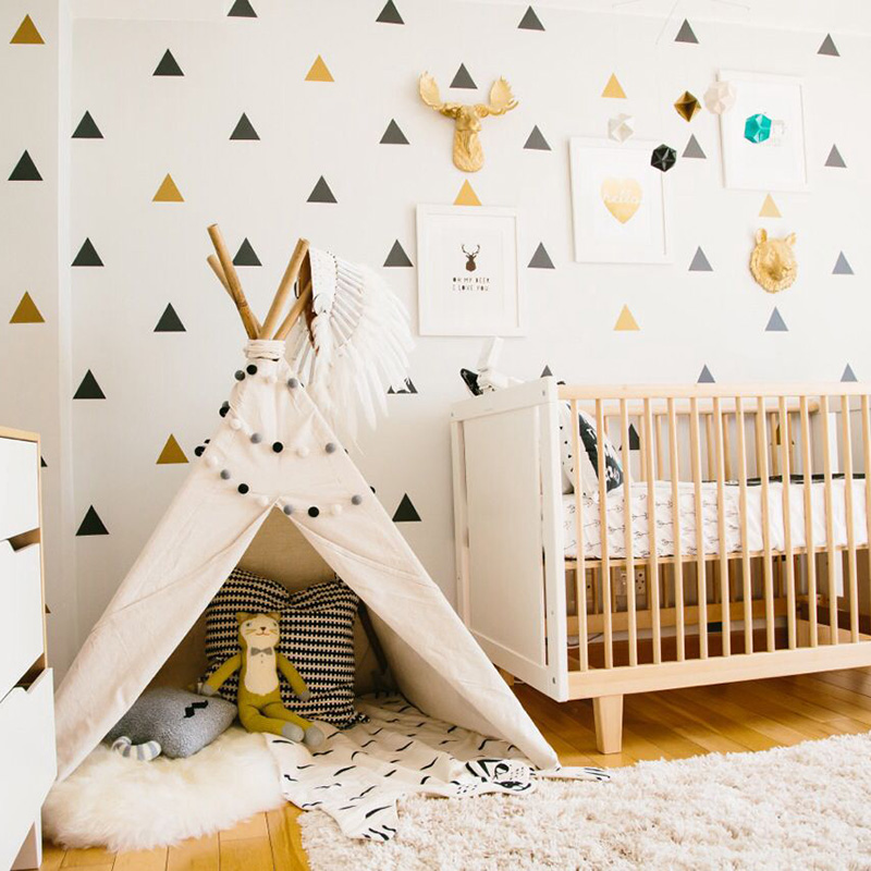 US $0.73 7% OFF|Triangles Baby Room Decor Kids Bedroom Wall Sticker For  Kids Room Nursery Decor Girl Childrens Bedroom Home Decor Wallpaper-in Wall  ...