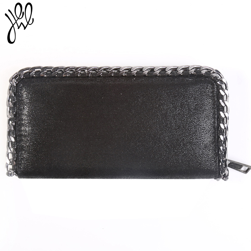2018 Women Chains Wallet Leather Brand Designer Long Purses Female Dress Party Clutch Wallet Money Handbags Cards Holder Wallets 100% wax oil cowhide vintage wallets female money clips real leather clutch wallet for women credit cards change purses 2014 new