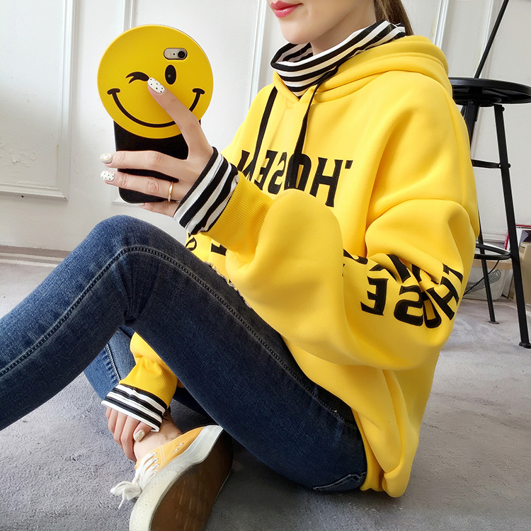 Fake Two Pieces Letter Harajuku Solid Coat Turtleneck 2018 Winter Fleece Pullover Thick Lo