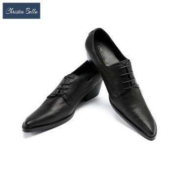 Christia Bella Sapato Masculino Men Dress Shoes Black Leather Pointed Toe Oxford Shoes for Men Wedding Party Plus Size 38-47