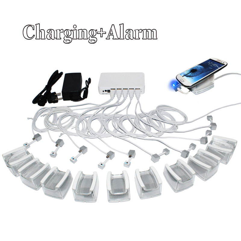 10 in 1 charging mobile cell phone security system alarm tablet display holder  with andriod apple cables and acrylic stand charging cell phone tablet high security stand display system alarm holder burglar bracket mount white black with cable and key
