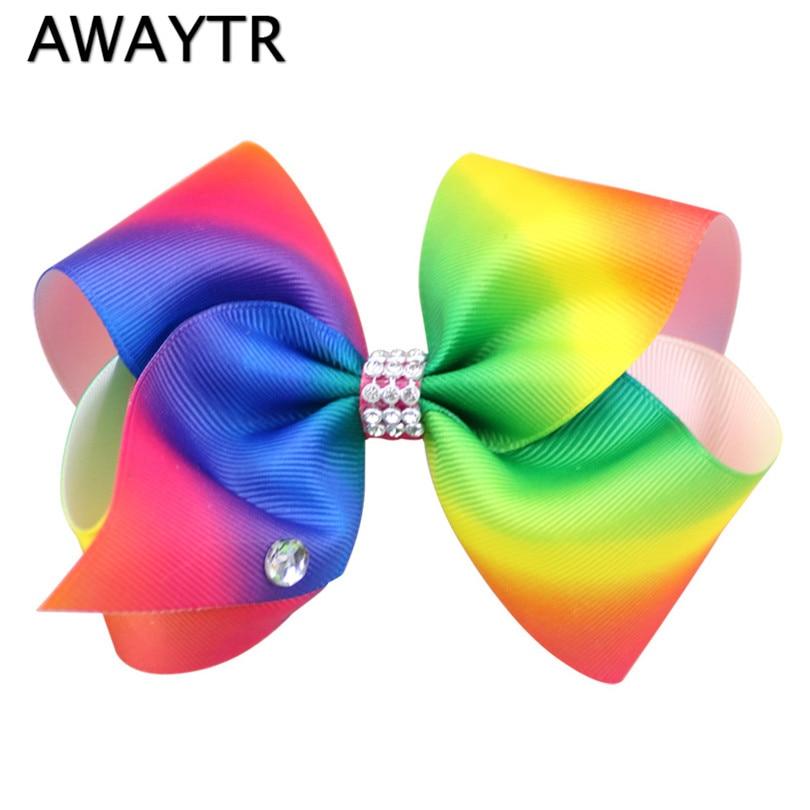 AWAYTR Girls Hairpins 4.7 Rhinestone Rainbow Ribbon Bow With Clip for Girls Kids Teens Large Crystal Hairgrips Hair Accessories бутылка emsa teens birdy bow 514411