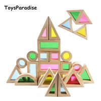Blocs arc-en-ciel 24 pièces assemblage géométrique blocs acryliques jouets en bois pour enfants blocs de construction créatifs jouets éducatifs pour bébé