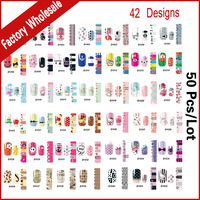 Nail Art Stickers Decals 50sheets Lot Stylish Flowers Designs Adhesive Full Nail Wraps DIY Beauty Manicure