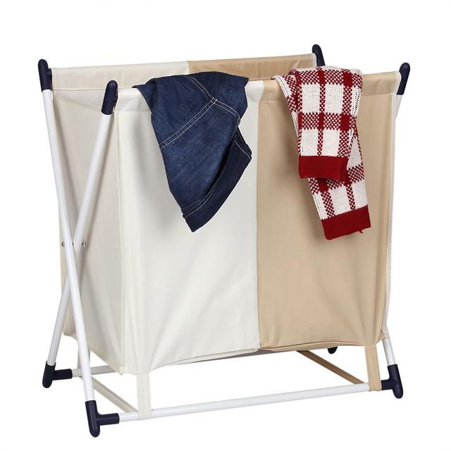 Finether Storage Organization Folding LAUDRY HAMPER X-Frame Laundry Sorter Hamper Stand 2-Compartment Detachable Bag for Clothes