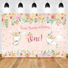 NeoBack First Birthday Backdrop for Girls Some Bunny Is Turning One Photography Background Pink Flowers Photo Booth Backdrops