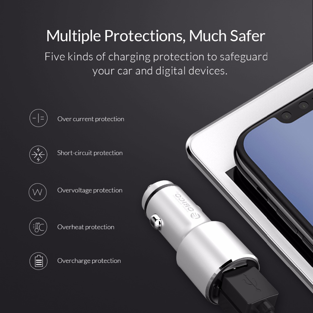 ORICO Portable Car Charger Aluminum Alloy Dual Output Car Charger Adapter for Samsung Xiaomi Huawei in Car Chargers from Cellphones Telecommunications