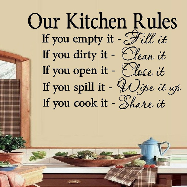Size 58 X 29cm Quotes Removable Vinyl Art Black Home Decor Our Kitchen  Rules Words Wall