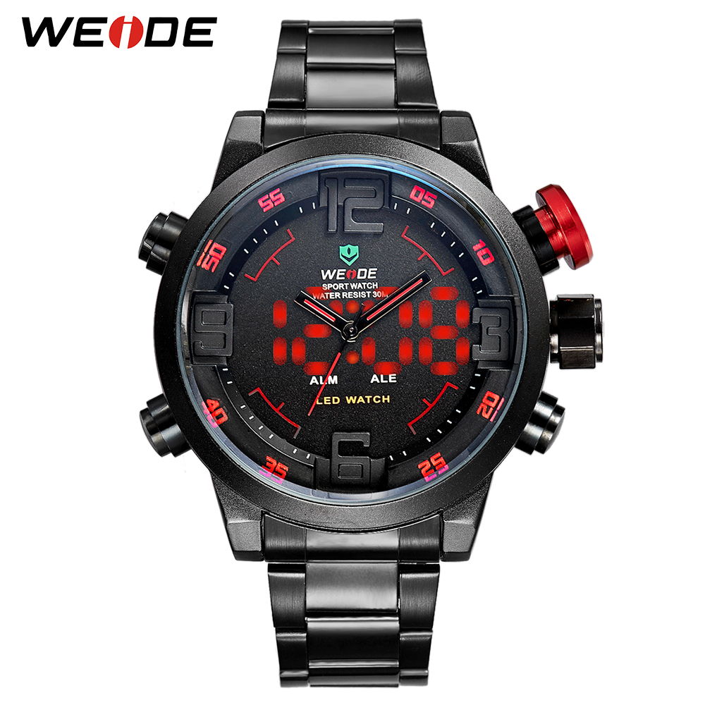 WEIDE Mens Sports Business Military Army Quartz Movement Analog Led Digital Automatic Date Alarm Wristwatches Relogio Masculino