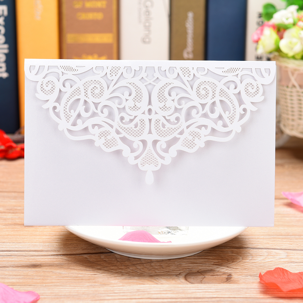 3 Folds Laser Cut Lace Flower Pattern Invitations Cards For