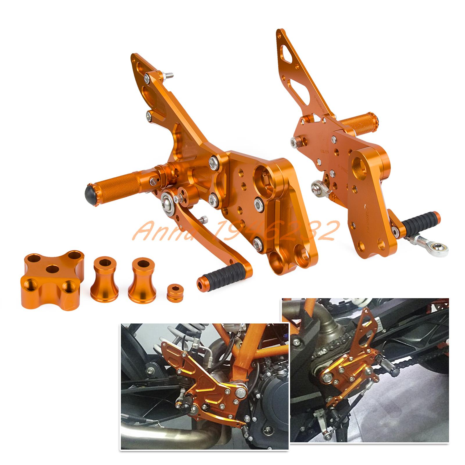 CNC Rear Passenger Footrest Bracket Sets For KTM 125/200/390 Duke 2011 2012 2013 2014 2015 2016 for ktm 390 duke motorcycle leather pillon rear passenger seat orange color