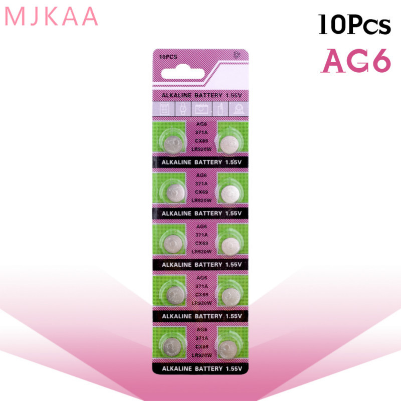 10pcs/pack AG6 Promotion For watch Button <font><b>Battery</b></font> <font><b>371</b></font> d371 605 sr920sw sr69 alkaline cocell button <font><b>battery</b></font> image