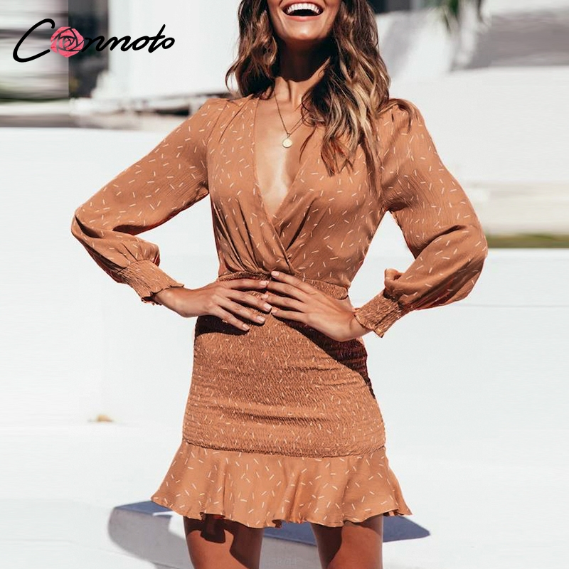 Conmoto Long <font><b>Sleeve</b></font> <font><b>Sexy</b></font> <font><b>Dress</b></font> Women Robe Femme <font><b>Winter</b></font> Party <font><b>Dress</b></font> <font><b>Casual</b></font> Short Ruffles Twist Bodycon <font><b>Dresses</b></font> Vestidos image