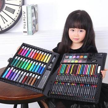 150 Pcs Anak Berwarna Pensil Lukisan Marker Pena Crayon Cat Sikat Alat Gambar Artis Kit Sekolah Belajar Mainan