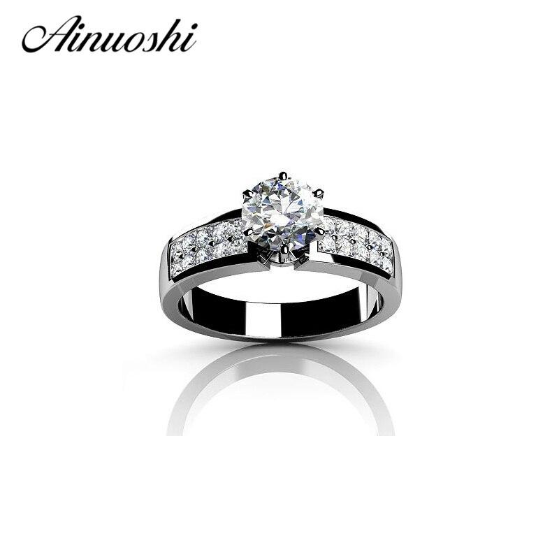 AINUOSHI 1 Carat anneaux de mariage 925 en argent Sterling brillant coupe ronde femmes de fiançailles de mariage romantique éternité amant anneau bande