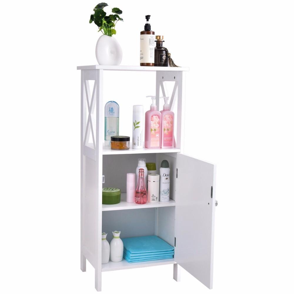 Giantex Storage Floor Cabinet Bathroom Organizer Towels Single Door Modern Furniture Hw57017 In Vanities From Home