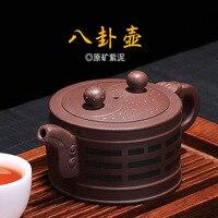 보라색 모래 냄비 도매 teaware 보라색 진흙 순수한 수제 bagua 주전자