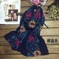 Lenços de seda de alta qualidade lenço de algodão bordado flores arte ms ar condicionado é impedido aquecer em dupla xale eólica nacional