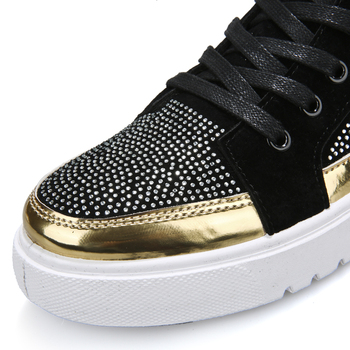 2019 Cool Men High Top Men Gold Glitter Sneakers Lace Up Crystal Platform Flats Gold Shoes Man Sequins krasovki Bling Shoes 1