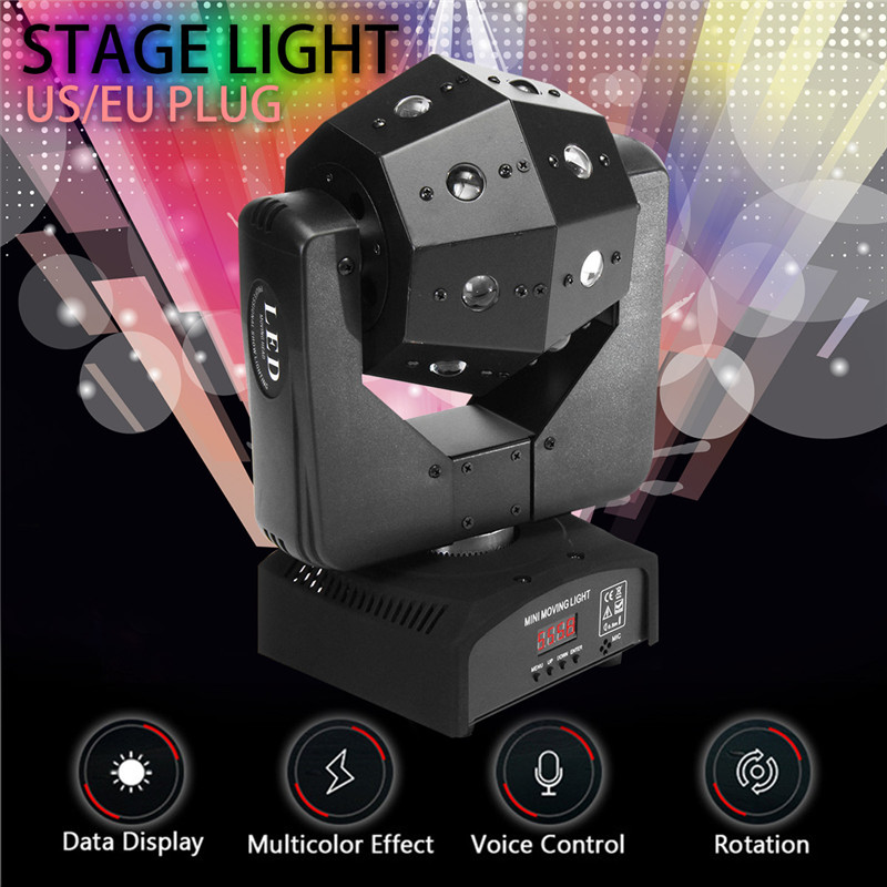 Smuxi Voice Control RGB 16 LED Mini Moving Head Beam For Disco Party Stage Effect Lighting Sound Control DJ Light AC90-240V dmx512 127 led rgb effect light stage light for disco dj party show black eu plug ac 90 240v